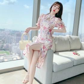 印花复古名媛显瘦连衣裙短袖修身高腰改良版旗袍裙子