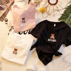 2021夏季新款女装小熊刺绣短袖t恤女ins潮时尚