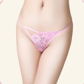 耶妮娅性感丁字裤无痕内衣超薄骚情趣蕾丝内裤粉色