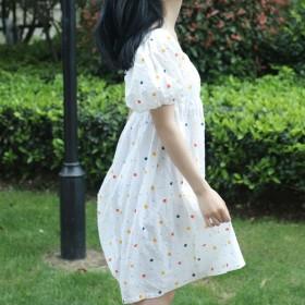 可定做夏季泡泡袖方领棉质连衣裙