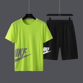 速干运动短袖套装男夏季潮牌冰丝透气健身休闲运动时尚