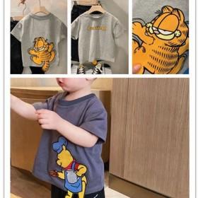 童装夏款绣花加菲猫立体卡通T恤男童2021新款儿童