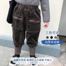 儿童韩版秋冬灯笼裤儿童条绒加厚工装裤休闲束脚裤子帅