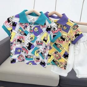 男童polo衫夏短袖时尚翻领韩版儿童花T恤洋气卡通
