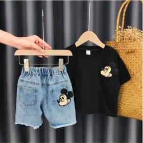 2021新款女童夏装套装女宝宝短袖牛仔裤网红洋气潮
