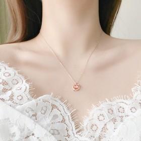 粉色星空银项链女S925梦幻星球
