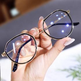 韩版多边形近视眼镜女有度数防蓝光辐射眼镜框女学生平