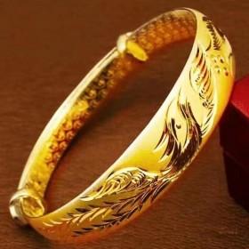 沙金镀金镯子原创设计手环银手镯