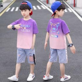 新款两件套韩版帅气夏季短袖男孩儿童装衣服男童夏装套