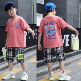 新款潮夏装儿童装中大童运动短袖男孩衣服两件套
