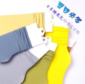 袜子女夏季薄款堆堆袜纯色中筒袜女士糖果色天鹅hhm