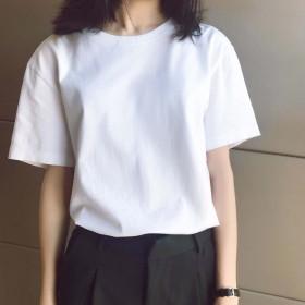 夏季新款白色短袖T恤女韩版宽松半袖ins纯色打底衫