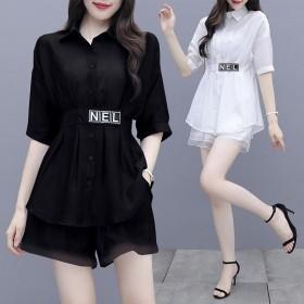 时尚显瘦套装女韩版夏季新款潮两件套衬衫中长款女阔腿