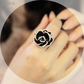 限时特价黑色玫瑰经典戒指拍完即止