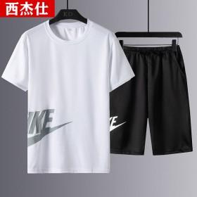 2021新款运动套装男夏季冰丝短袖运动服速干跑步休