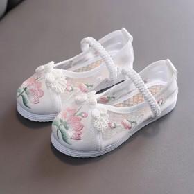 女童绣花鞋儿童帆布鞋汉服鞋子中国风表演出鞋透气网鞋