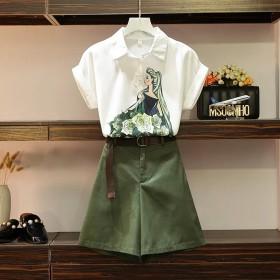 两件套夏季短袖雪纺衬衫上衣短裤子女装韩版宽松显瘦大