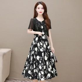 气质假两件连衣裙夏洋气显瘦减龄