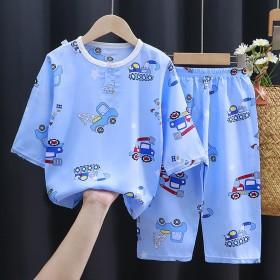 儿童棉绸睡衣套装夏季七分袖中小童卡通薄款家居服