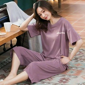 100%纯棉睡衣女夏季短袖七分裤套装宽松大码短裤可