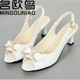 夏季凉鞋女蝴蝶结新款鱼嘴鞋中跟鞋粗跟鞋浅口鞋