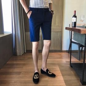 夏季男士五分裤修身黑色短裤精神小伙5分裤子发型师休
