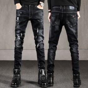 新款破洞黑色男士牛仔裤纯色弹力流行小脚裤青少年修身