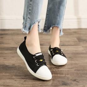春夏新品软面小白鞋镂空系带浅口两穿懒人鞋软底女鞋