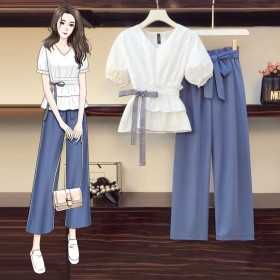 大码胖妹妹套装夏韩版宽松显瘦收腰上衣遮肉阔腿裤两件