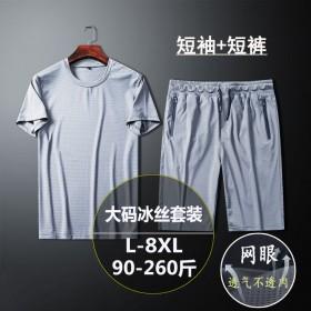 夏新款冰丝短袖套装男薄款速干透气运动套装宽松短袖男