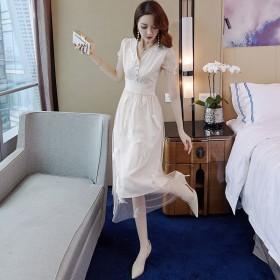羽毛刺绣网纱连衣裙新款女夏淑女法式复古气质显瘦裙子