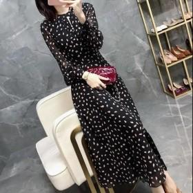 新品上市连衣裙女春秋新款韩版时尚气质收腰法式复古波