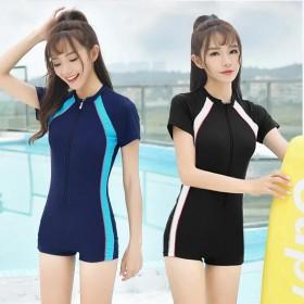 连体学生运动款平角大码专业游泳衣短袖温泉泳衣女保守