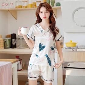夏季睡衣女冰丝夏韩版清新V领薄款印花仿真丝绸套装可