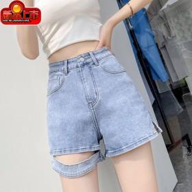 新款牛仔短裤女夏薄款高腰显瘦宽松a字裤纯色不规则阔