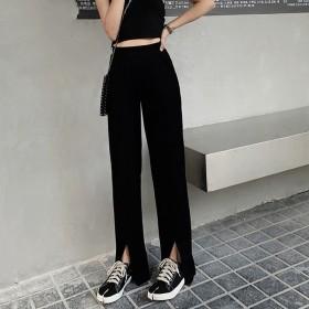 黑色阔腿裤女休闲高腰学生韩版显瘦开叉直筒拖地裤