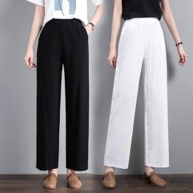 七分九分100%纯棉阔腿裤休闲裤