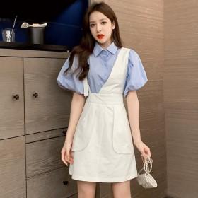 套装褶皱公主泡泡袖衬衫不对称背带短裙两件套