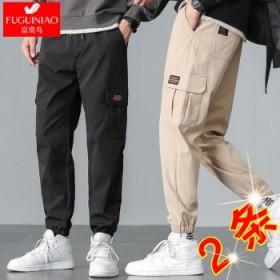 2件富贵鸟工装裤子男秋冬宽松大码束脚裤休闲裤