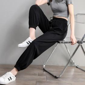 夏装韩版休闲运动裤大码女装薄款冰丝棉九分灯笼哈伦裤