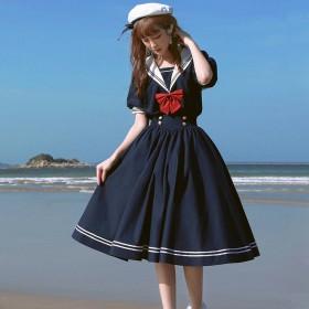 韩版拼色学院风连衣裙女学生百搭宽松海军领仙女a字裙