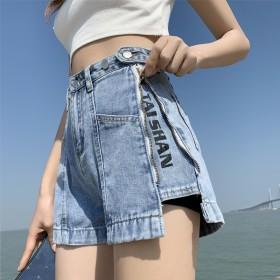 夏季新款薄款直筒高腰纽扣宽松时尚网红阔腿热裤