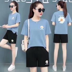 学生时尚休闲运动套装女女装短袖短裤跑步服两件套潮