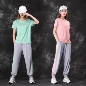 套装休闲运动透气修身速干衣居家宽松T恤长裤两件套女