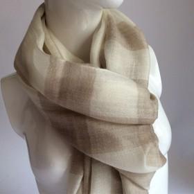 钻石纹格子纯羊绒围巾薄款