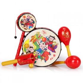 婴儿玩具手摇鼓拨浪鼓套装3-6-12月宝宝怀旧新生