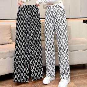 新款阔腿裤休闲宽松垂感好两双夏季格纹裤子女气质女生