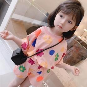女童夏装花朵套装2021新款韩版儿童网红洋气女宝宝