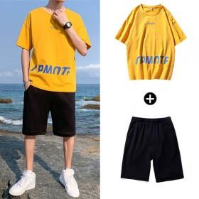 休闲套装男2021新款夏季潮流短袖T恤衫宽松男士帅