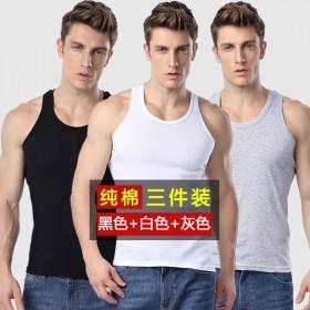 【3件装】夏季男士运动背心男纯棉吊带无袖背心青年透